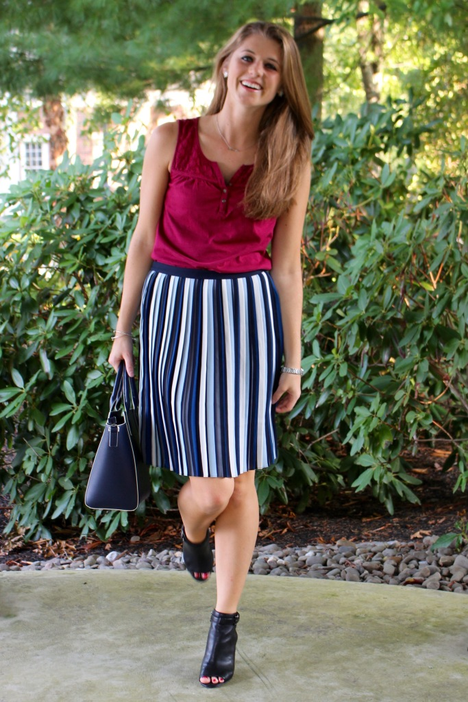 blue striped transition skirt