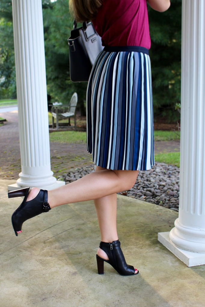 pleated skirt and open toe leather booties