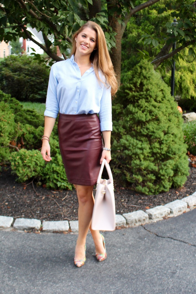 leather pencil skirt and collared shirt