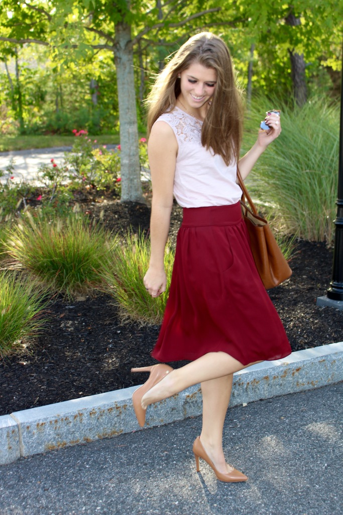 Blush and Burgundy Fall Outfit on The Sol Compass