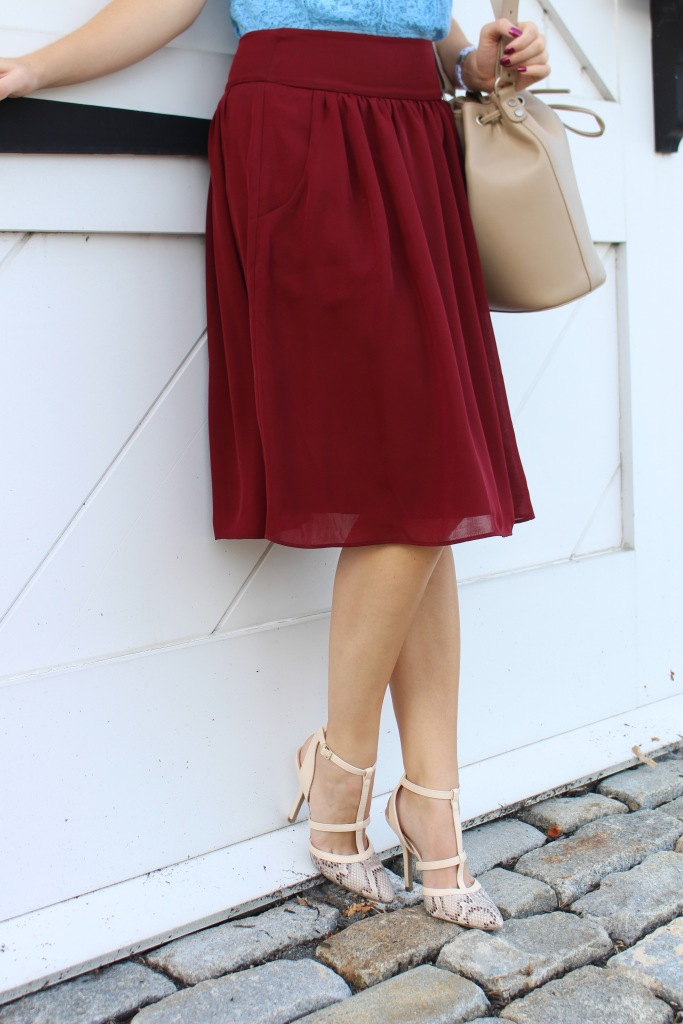 Burgundy skirt for fall on The Sol Compass
