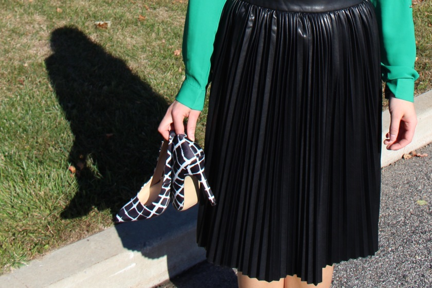 Banana Republic Faux Leather Pleated Midi Skirt, Adam Lippes for Target Plaid Pumps