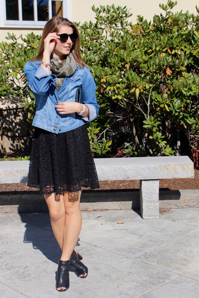 black lace skater skirt and leather peep toe booties