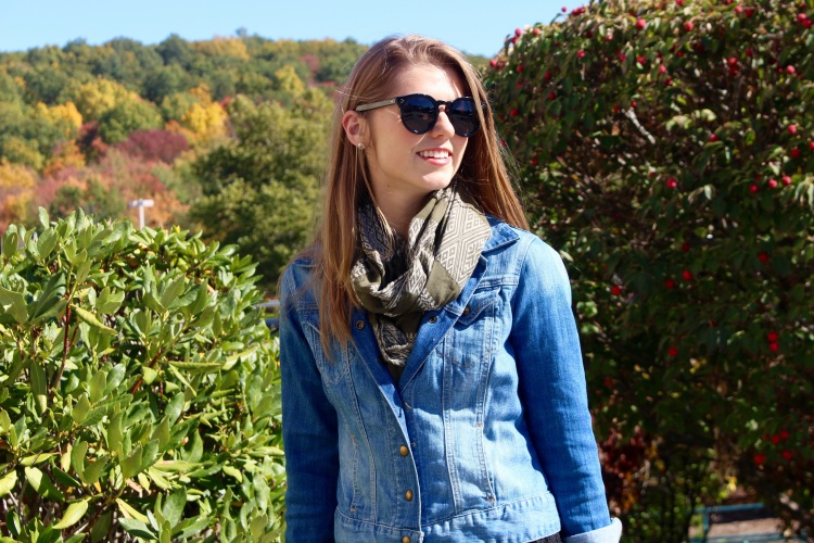 Olive Green Madewell Scarf, Denim Lucky Brand Jacket