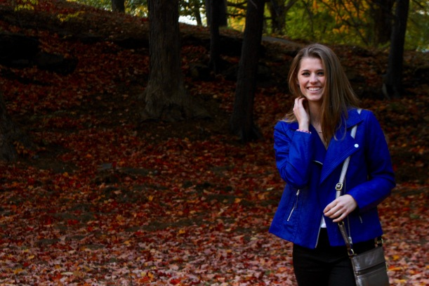 love this blue faux leather jacket for fall