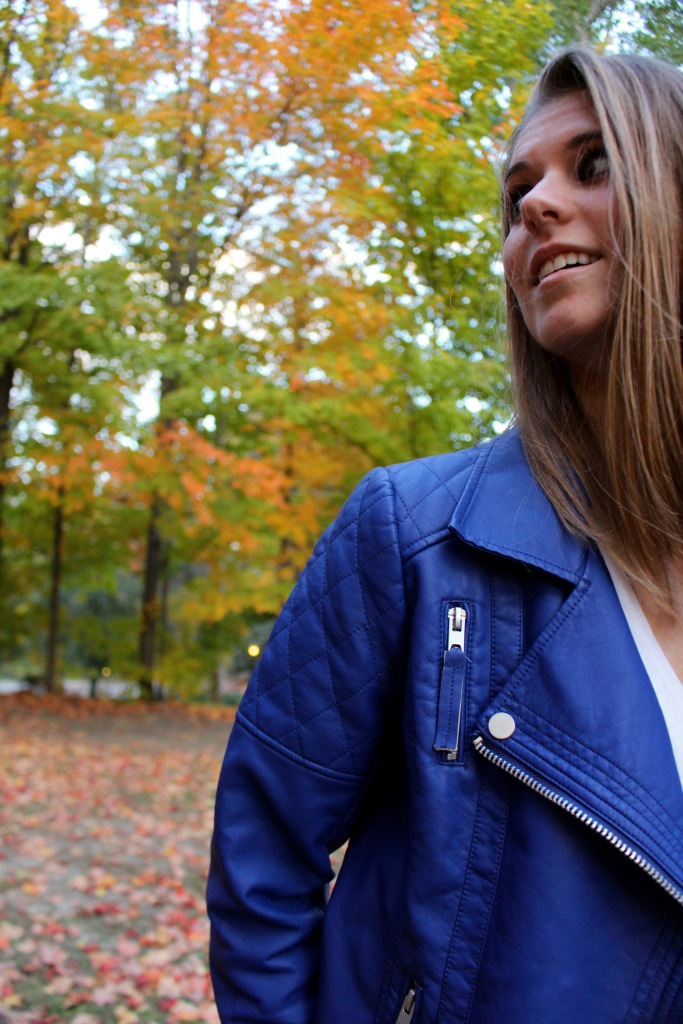 Quilted Details: Blue Faux Leather Jacket