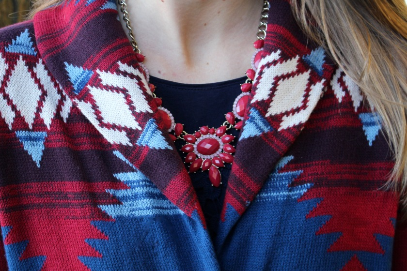 Printed Sweater Details, JCREW bauble necklace