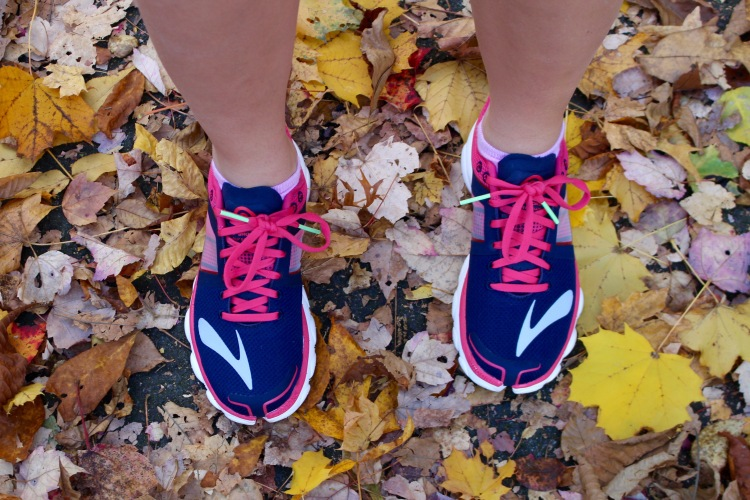 Navy and Pink Brooks Running Shoes