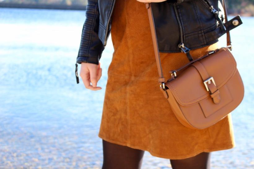 Camel Suede Zara Skirt, Coach Crossbody Bag