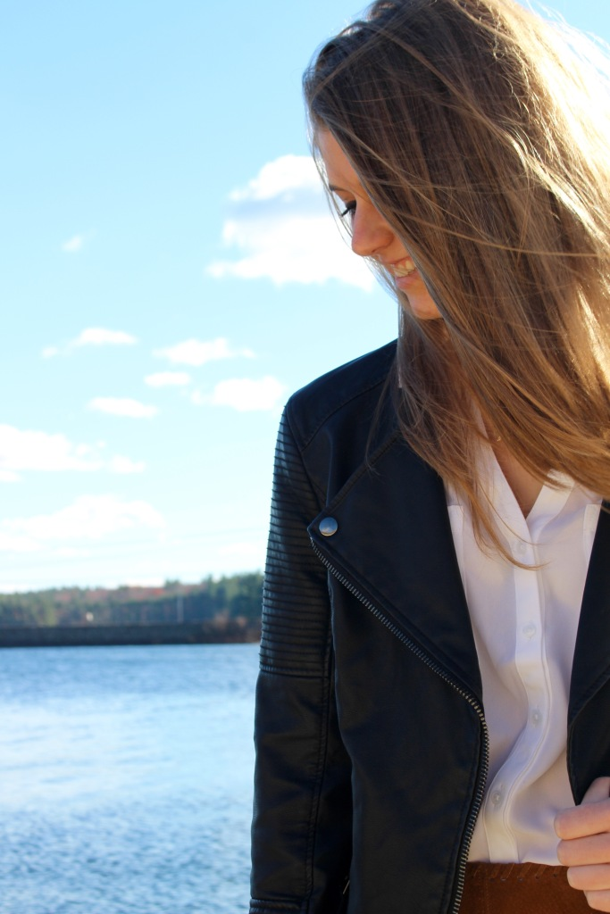 Black Faux Leather Jacket, Classic White Blouse
