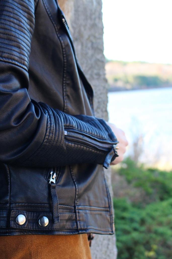 Black Faux Leather Topshop Jacket zipper details
